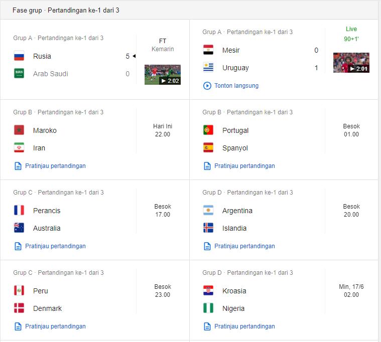 Jadwal Piala Dunia 1